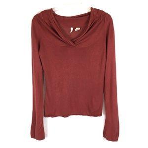 Moth Anthro Rust Red Orange Wool Blend Sweater M
